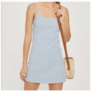 Topshop Checkered Blue and White Dress